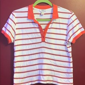 collared striped shirt